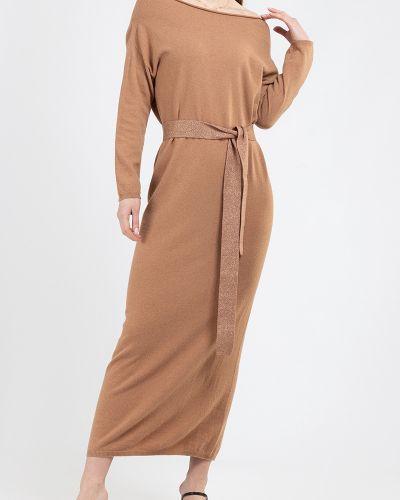 Вязаное платье макси - бежевое Kontatto