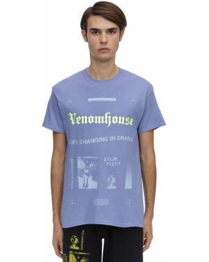 Fioletowy t-shirt bawełniany z haftem Taboo