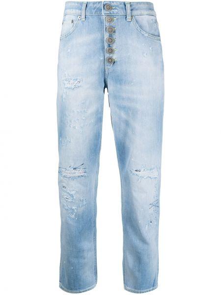 Синие кожаные укороченные джинсы на пуговицах Dondup