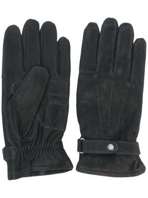 Zamsz czarny rękawiczki Barbour