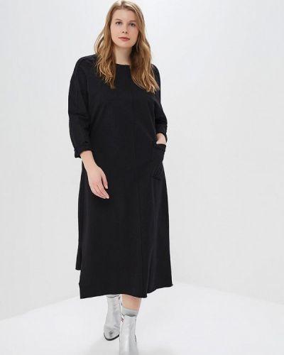 Повседневное платье осеннее черное Hassfashion