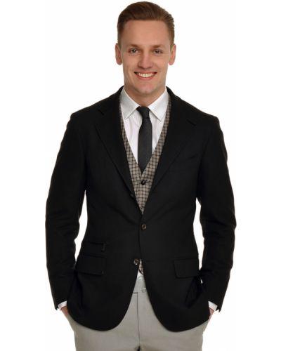 Черный пиджак шерстяной Ermenegildo Zegna