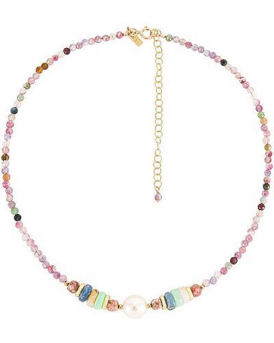 Złoty naszyjnik z pereł - fioletowy Natalie B Jewelry