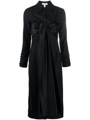 Черное классическое платье на пуговицах с воротником Matériel
