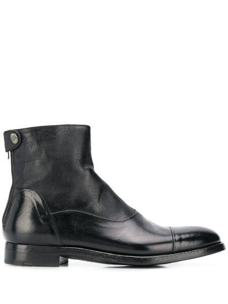 Кожаные черные кожаные ботинки на плоской подошве Alberto Fasciani
