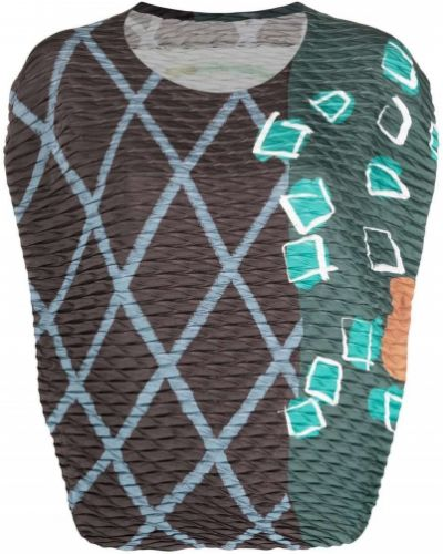 Prążkowany brązowy top asymetryczny Issey Miyake