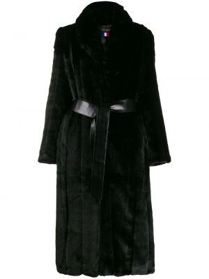 Черное акриловое пальто с лацканами с карманами La Seine & Moi