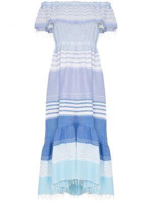 Платье миди с открытыми плечами - синее Lemlem