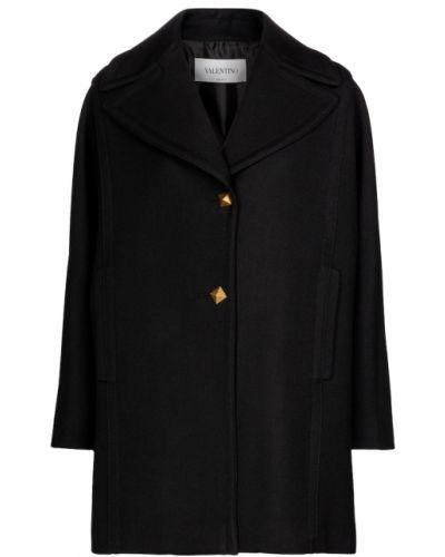 Czarny płaszcz wełniany Valentino