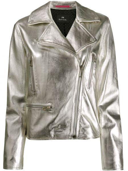 Прямая серебряная длинная куртка Ps Paul Smith