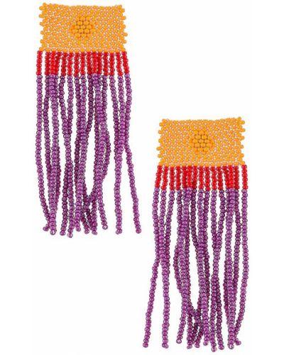 Деловые фиолетовые серьги-гвоздики с бисером Casa Clara