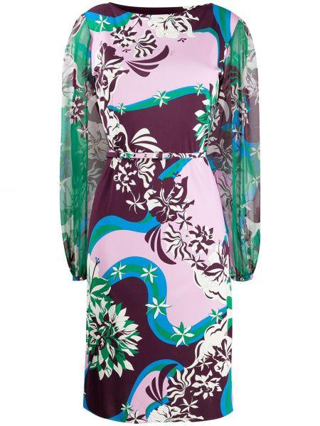 Платье с поясом с прозрачными рукавами с абстрактным принтом Emilio Pucci