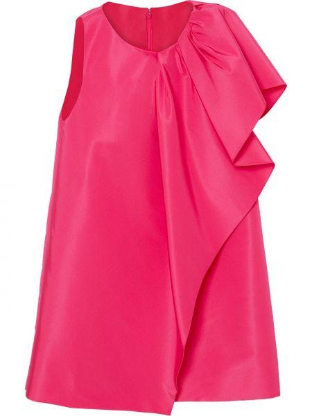 Шелковое розовое платье трапеция Carolina Herrera