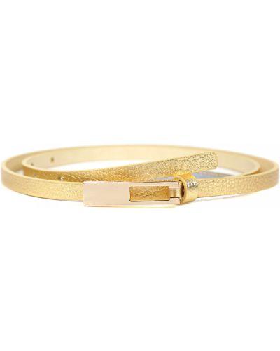 Золотистый кожаный тонкий ремень золотой Fabretti