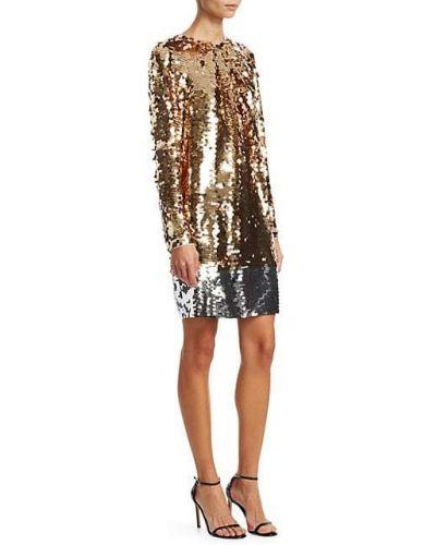 Шелковое платье мини с длинными рукавами золотое N° 21