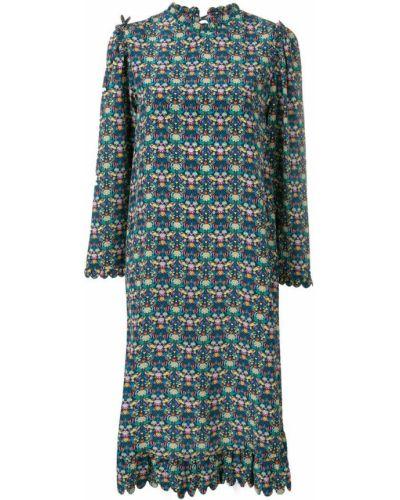 Платье миди с вырезом с длинными рукавами Horror Vacui