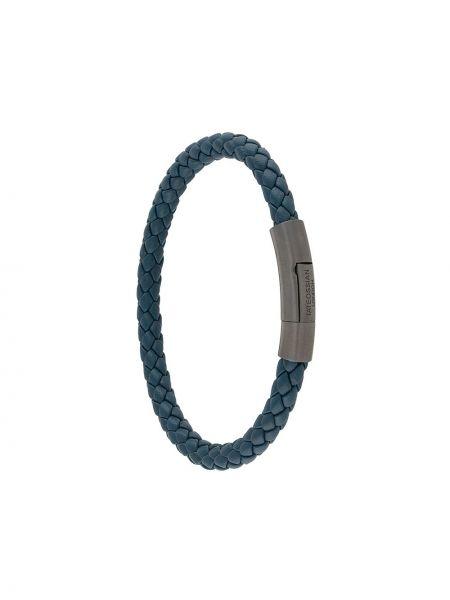 Синий плетеный кожаный браслет Tateossian