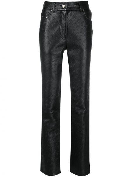 Czarne spodnie z wysokim stanem skorzane Saks Potts