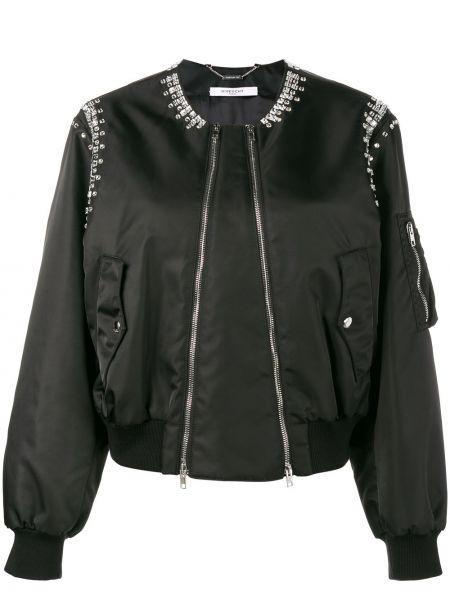 Czarna długa kurtka miejska z długimi rękawami Givenchy