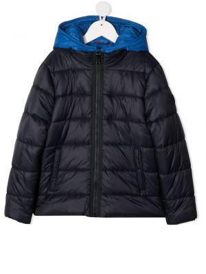 С рукавами черная длинная куртка с капюшоном Fay Kids