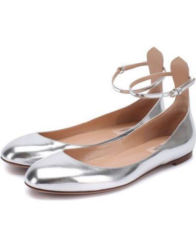 Балетки Мэри Джейн серебряного цвета Valentino