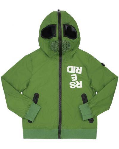 Zielony płaszcz z kapturem z nylonu Ai Riders On The Storm