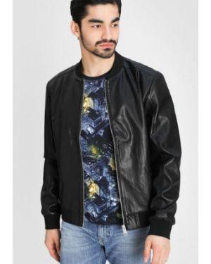 Кожаная черная кожаная куртка на резинке с манжетами Ostin