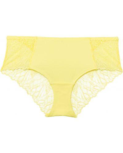 Желтые кружевные трусы Bonprix
