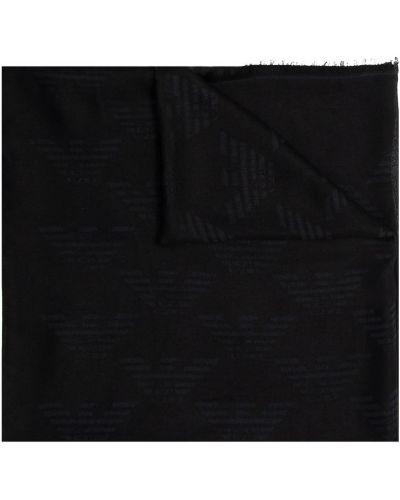 Czarny szalik z frędzlami Emporio Armani