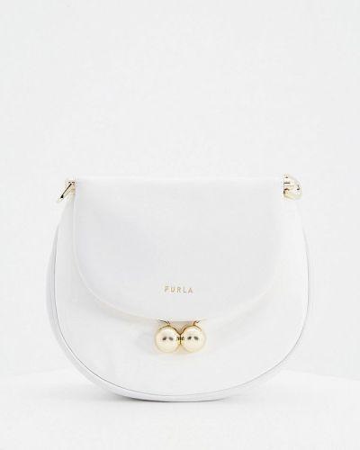 Белая лаковая сумка через плечо Furla