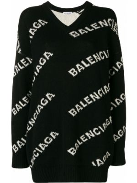 Sweter przeoczenie z dekoltem w szpic Balenciaga