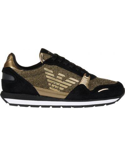 Кожаные кроссовки - золотые Emporio Armani