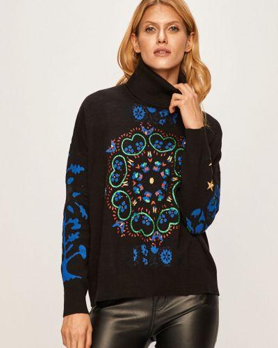Черный свитер с аппликациями с декольте металлический Desigual