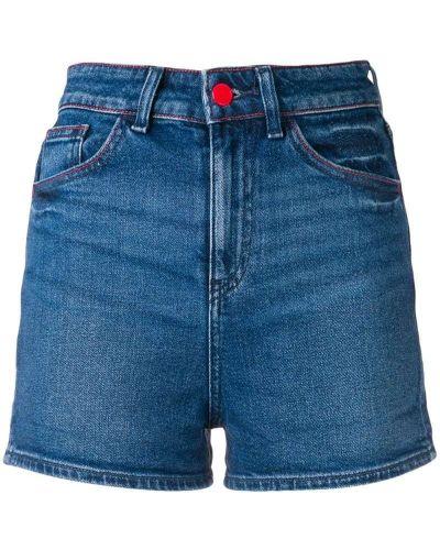 Джинсовые шорты с завышенной талией с вышивкой Emporio Armani