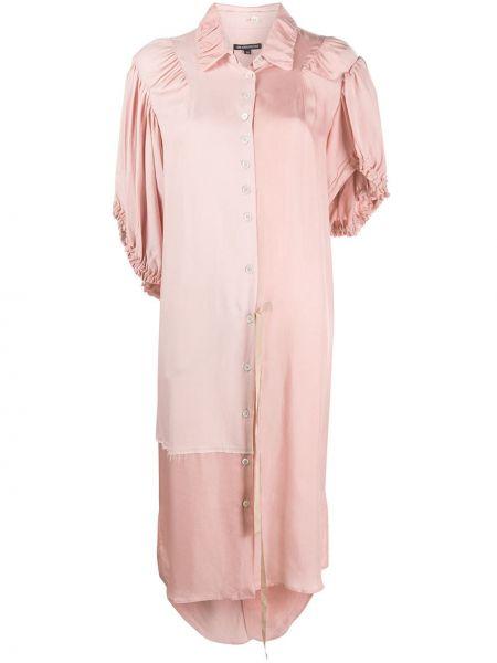 Платье миди розовое с завышенной талией Ann Demeulemeester