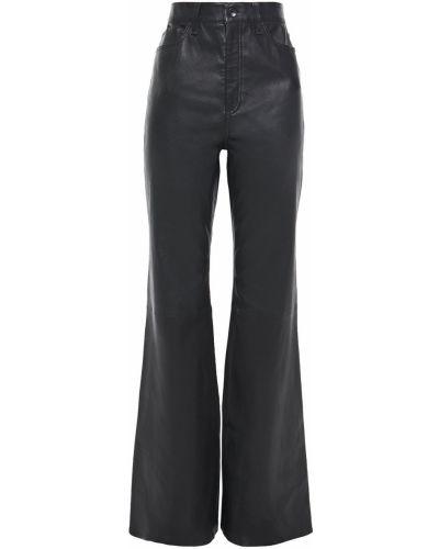 Czarne spodnie skorzane z paskiem Rag & Bone