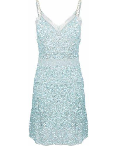 Приталенное синее платье мини с жемчугом Amen.
