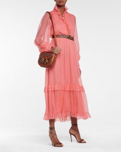 Шелковое розовое платье миди Etro