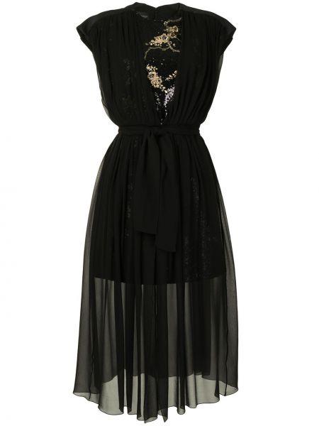 Платье с пайетками - черное Giambattista Valli