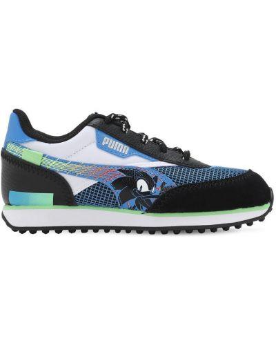 Ażurowy skórzany czarny sneakersy na sznurowadłach Puma Select