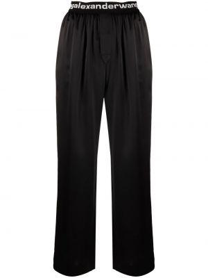 Czarne spodnie z jedwabiu Alexander Wang