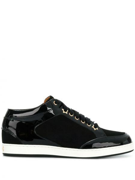 Кожаные золотистые черные кроссовки на шнуровке Jimmy Choo