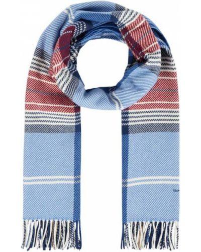 Niebieska szal w kratę wełniana Gant