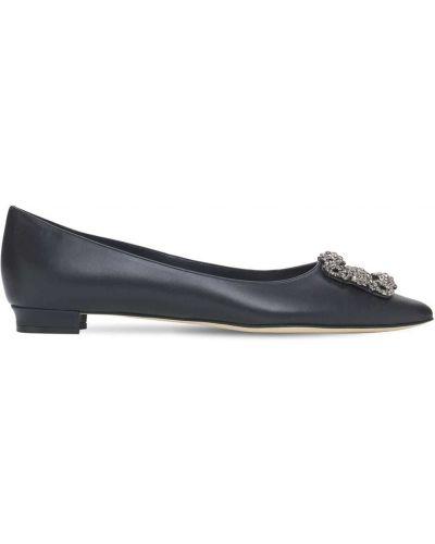 Кожаные туфли на каблуке со стразами Manolo Blahnik