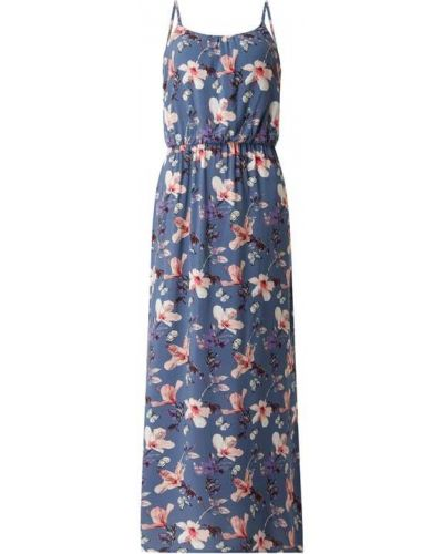 Niebieska sukienka długa rozkloszowana z wiskozy Only