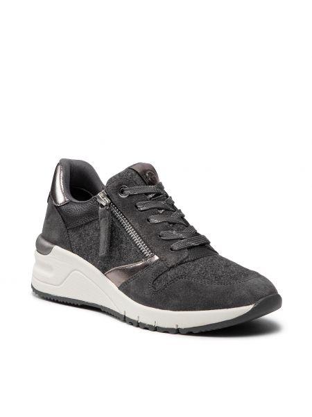 Sneakersy na koturnie skorzane - szare Tamaris