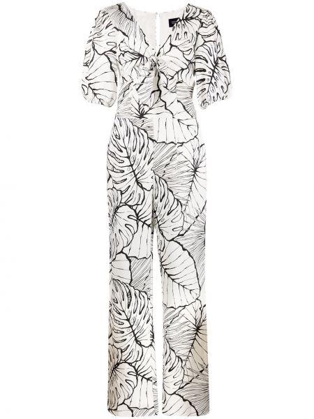 Белый комбинезон из вискозы с короткими рукавами Marchesa Notte