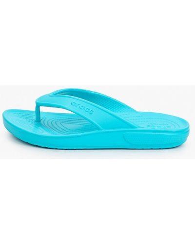 Голубые пляжные шлепанцы Crocs