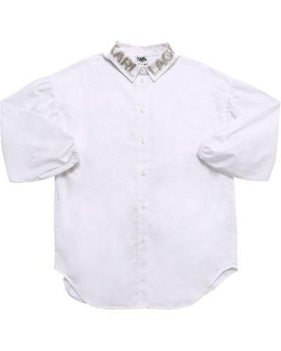 Biała koszula bawełniana oversize Karl Lagerfeld