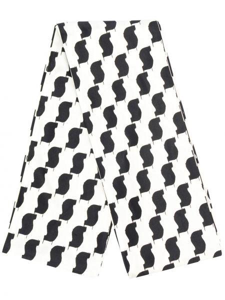 Biały szalik z jedwabiu z printem Undercover
